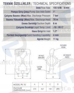 مشخصات پمپ دیافراگمی03 پارتکو صنعت