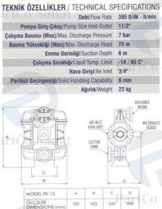 مشخصات پمپ دیافراگمی PK15پارتکو صنعت