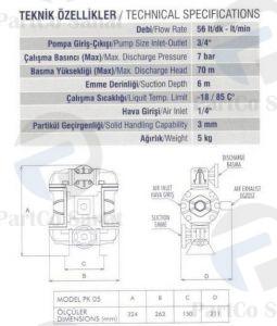 مشخصات پمپ دیافراگمی PK05پارتکو صنعت